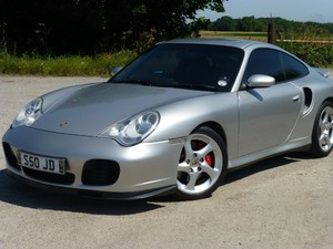 Porsche 996 Turbo Tiptronic with black soft ruffled leather upholstery.